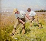 Sir George Clausen The Mowers painting
