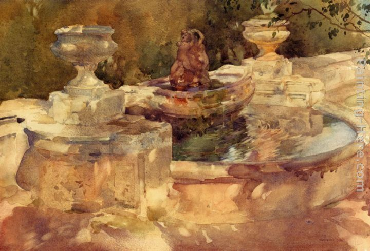 Sir William Russell Flint A Fountain At Frascati