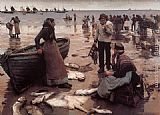 Stanhope Alexander Forbes A Fish Sale on a Cornish Beach painting