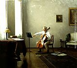 Steven J Levin Man playing a Cello painting