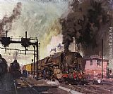 Terence Tenison Cuneo Trains In The Yard painting