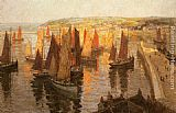 Terrick Williams Red and Gold Brixham painting