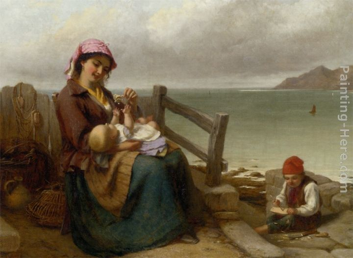 Thomas Brooks Mother and Child by the Seaside