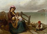 Thomas Brooks Mother and Child by the Seaside painting