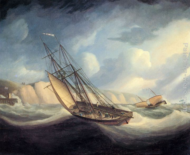 Thomas Buttersworth The Rapid Schooner and Deal Lugger off the South Foreland