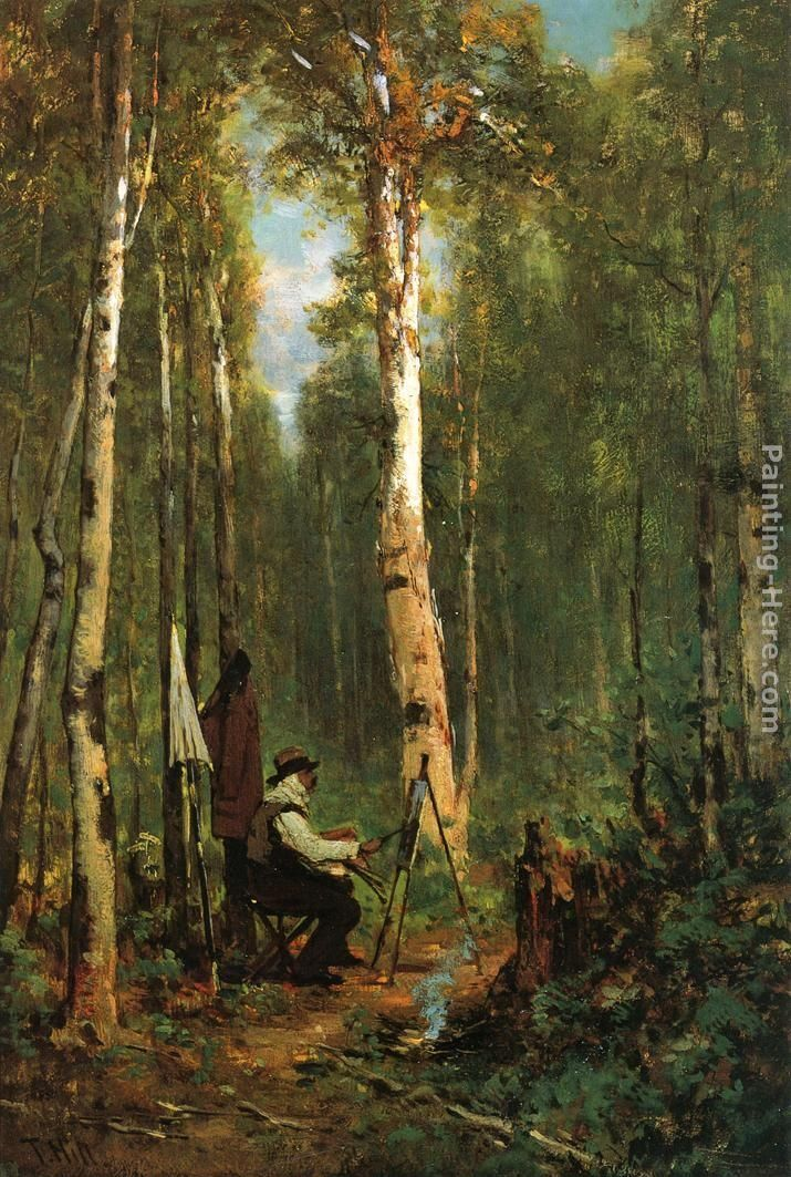 Thomas Hill Artist at His Easel in the Woods
