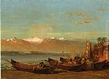Thomas Hill The Salmon Festival, Columbia River painting