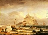 Thomas Luny Fishermen rowing in, before St. Michael's Mount painting