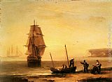Thomas Luny Fishermen unloading the catch with a merchant ship in calm water off Brymer Bay, Devon painting