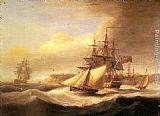 Thomas Luny Naval ships setting sail with a revenue cutter off Berry Head, Torbay painting