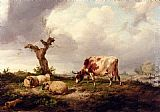 Thomas Sidney Cooper A Cow With Sheep In A Landscape painting