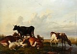 Thomas Sidney Cooper Cattle and Sheep Probably in Canterbury Meadows painting