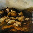 Thomas Sidney Cooper Peasants and Sheep painting