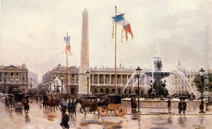 Ulpiano Checa y Sanz A View of the Place de la Concorde