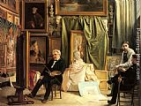 Victor Mottez The Artist's Studio painting