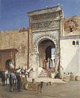 Victor Pierre Huguet Arabs Outside the Mosque painting