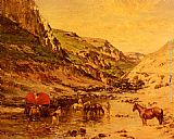 Victor Pierre Huguet Arabs Resting in a Gorge painting
