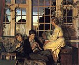 Viggo Christian Frederick Pedersen A Mother and Children by a Window at Dusk painting