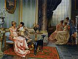 Vittorio Reggianini Interior with Elegant Figures painting