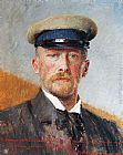 Vlaho Bukovac Self Portrait with a Captain's Hat painting