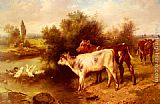 Walter Hunt Calves Watering painting