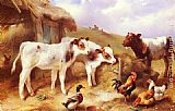 Walter Hunt Calves, Chicken and a Duck painting