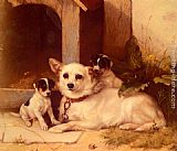 Walter Hunt Mother And Puppies Resting painting