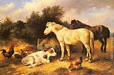 Walter Hunt Ponies, A Calf and Poultry In a Farmyard painting