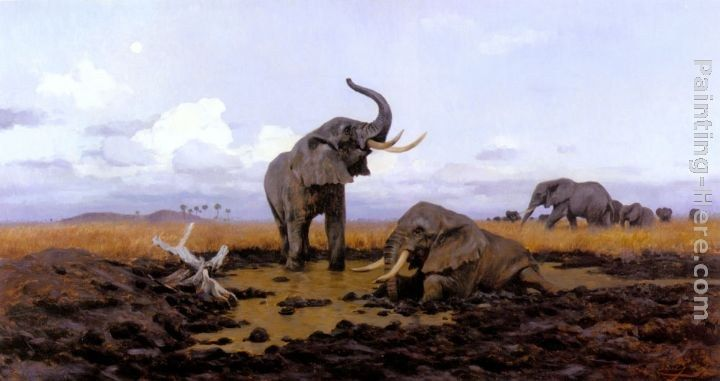Wilhelm Kuhnert In The Twilight, Elephants