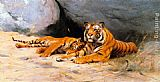Wilhelm Kuhnert Tigers Resting painting