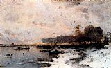 Wilhelm von Gegerfelt A Winter River Landscape At Sunset painting