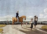 Wilhelm von Kobell Gentleman on Horseback and Country Girl on the Banks of the Isar near Munich painting