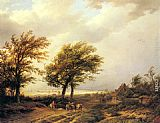 Willem Bodemann Travellers in an Extensive Landscape with a Town Beyond painting