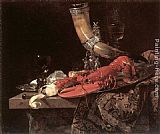 Willem Kalf Still Life with Drinking-Horn, Lobster and Glasses painting