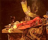 Willem Kalf Still Life with the Drinking-Horn of the Saint Sebastian Archers' Guild, Lobster and Glasses painting