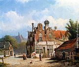 Willem Koekkoek A Dutch Town Scene painting