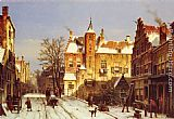 Willem Koekkoek A Dutch Village In Winter painting