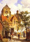 Willem Koekkoek A Street Scene in Haarlem painting