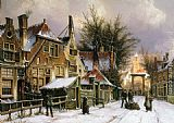Willem Koekkoek A Townview with Figures on a Snow Covered Street painting