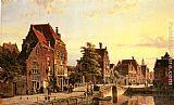 Willem Koekkoek Figures by a Canal in a Dutch Town painting