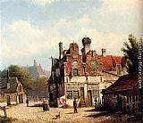 Willem Koekkoek Houses Along A Village Street In Summer painting