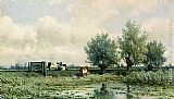 Willem Roelofs A Summer Landscape With Grazing Cows painting