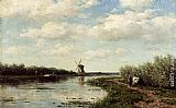 Willem Roelofs Figures On A Country Road Along A Waterway, A Windmill In The Distance painting