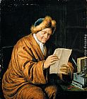 Willem Van Mieris An Old Man Reading painting