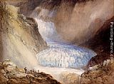 William Callow Glacier Du Rhone And The Garlingstock, Pass Of The Furca, Switzerland painting