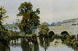 William Fraser Garden A Stone Bridge Leading into a Village painting