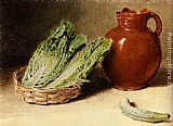 William Henry Hunt Still Life With A Jug, A Cabbage In A Basket And A Gherkin painting