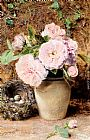 William Henry Hunt Still Life With Roses In A Vase And A Birds Nest painting