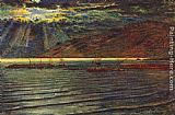 William Holman Hunt Fishingboats by Moonlight painting