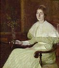 adam and eve Paintings - Portrait of Adeline Pond Adams Seated in an Interior